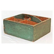 Antique Pine Carrier in Original Green Surface
