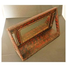 Unique Antique Folk Art Mirror with Shelf