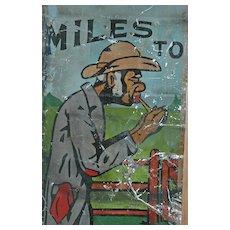 "Vintage Black Memorabilia Painted Tin Roadside Sign - ""Suitcase Sam"""