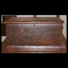 Antique Pine Sea Chest in Original Red Surface