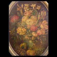 Oil Painting on Board in a Gilded Oval Frame