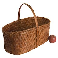 Large Rectangular Woven Splint Basket with Fixed Handle