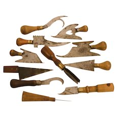 Set of 11 Hand-Made Diminutive Leather working Tools