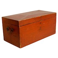 Antique Painted, Chamfered and Decorated Diminutive Maine Chest