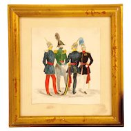 19th Century Watercolor of Four Prussian Officers
