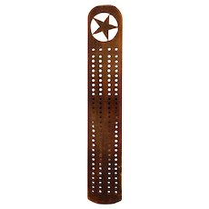 Early Wooden Cribbage Board with Star Cut-Out
