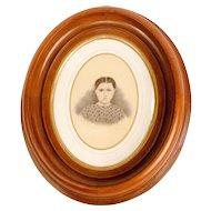 Young Female Portrait in Walnut Frame