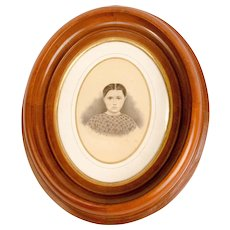Young Female Portrait in Walnut Frame