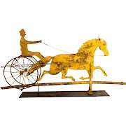 Sheet Copper Horse, Sulky and Driver Weathervane