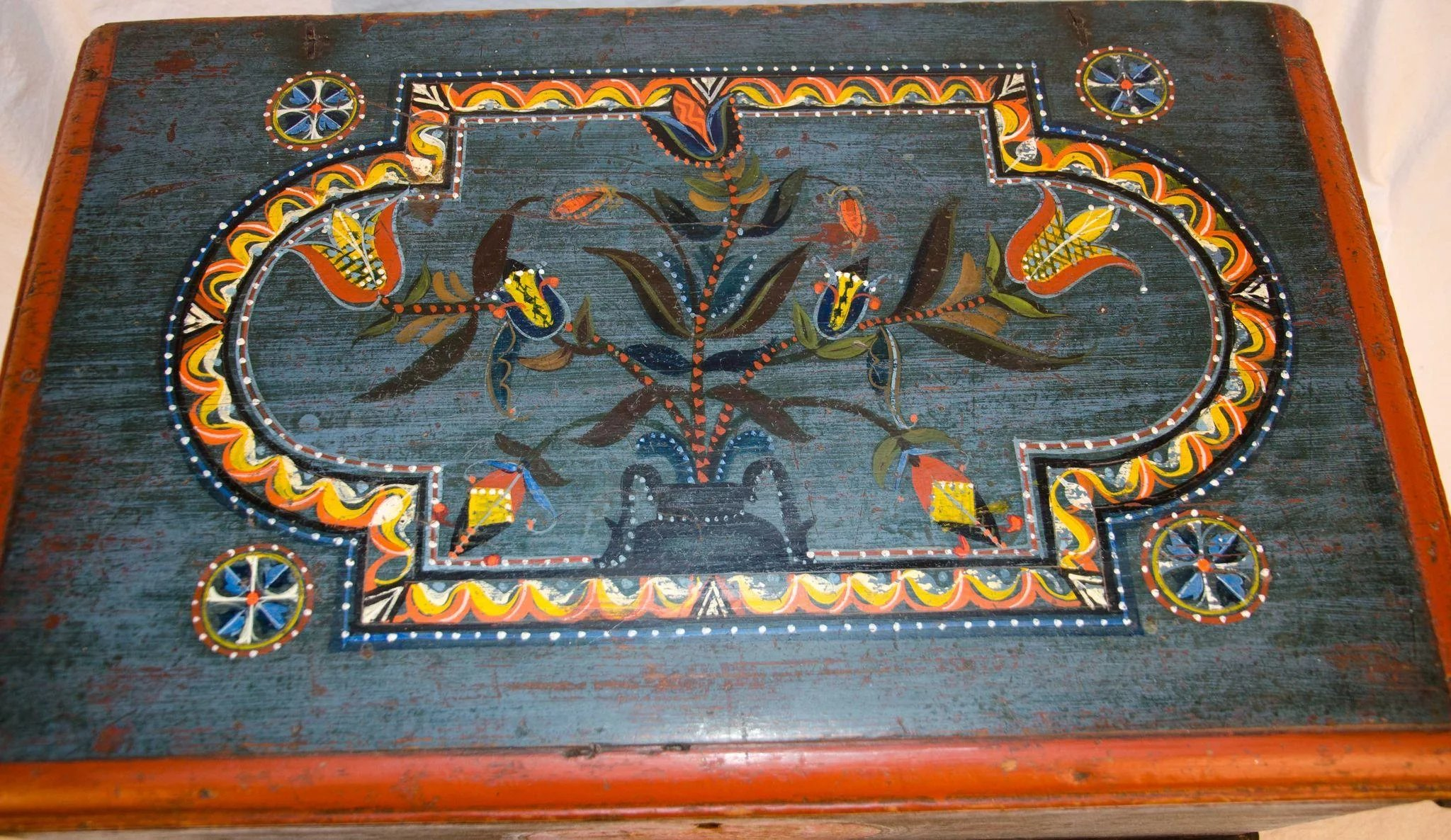 18th Century Painted And Decorated Bible Box As Good As
