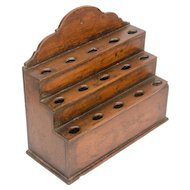 Early Stepped Three-Level Oak Hanging Spoon Rack