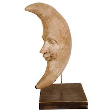 Carved and Painted Man in the Moon Sculpture