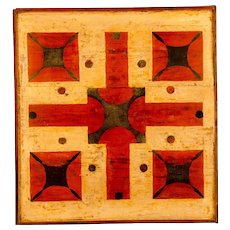 Early Paint Decorated Parcheesi Game Board