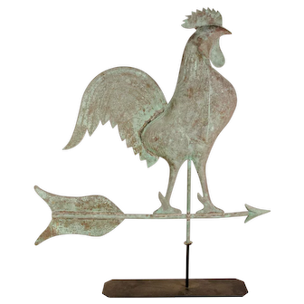 Copper Swell Bodied Rooster Weathervane