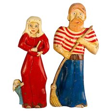 Pair of Carved and Painted Wooden Carnival Stand-up Figures