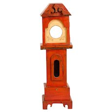 Watch Hutch in Red Paint in the Traditional Tall-Clock Form