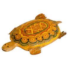 Carved and Painted Wooden Turtle Decoy