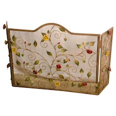 Iron Fireplace Screen With Applied Rose Decoration