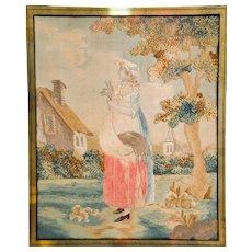 Georgian Silk Work in Gilded Frame