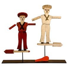A Pair of Nantucket Dewey Boys Wooden Whirligigs