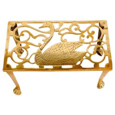 Cast Brass Trivet with Swan Decoration