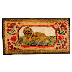 Early Rag Hooked Rug with Laying Dog