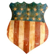 Carved and Painted Large Patriotic Shield