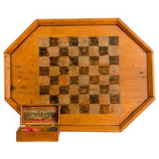 Wooden Checker/Chess Lap Board in Octagonal Frame