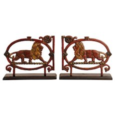 Pair of Cast Iron Lion Form Gate Elements