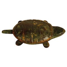 Carved and Painted Ice Fishing Turtle Decoy