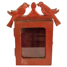 Painted Hanging Clock Box with Birds