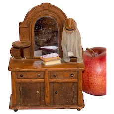 Carved and Painted Miniature Dresser with Books, Hat and Coat