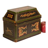 Paint Decorated Dresser Box with Mansard Style Top