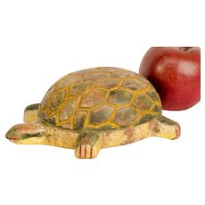 Ice Fishing Carved and Painted Turtle Decoy