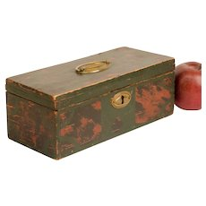 Early Painted Box with Fabric Interior