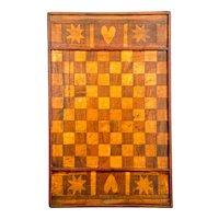 Inlaid Checker Board with Hearts and Stars