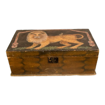 Painted Box with Lion Decoration