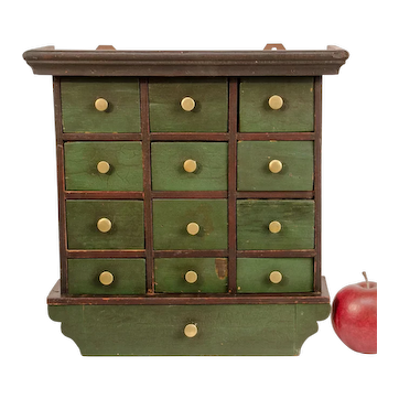 Painted Hanging Spice Cabinet with 13 drawers