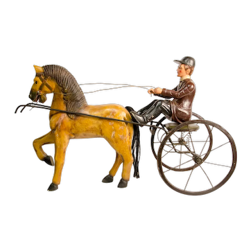 Carved and Painted Sulky, Horse and Driver Advertising Display