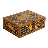 Painted Wooden Trinket Box with Circus Animals