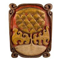 Carved and Painted Pineapple Welcome Sign
