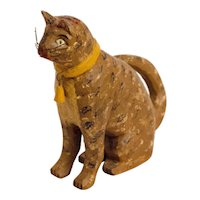 Carved and Painted Cat with Curved Tail, Collar and Bell