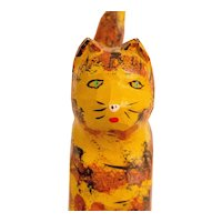 Carved and Painted Cat in Red and Yellow
