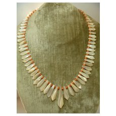 Antique Victorian coral & mother of pearl necklace