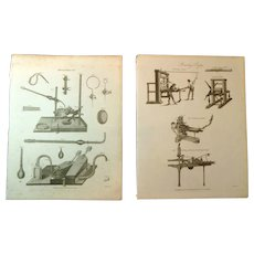 A Pair of Late Georgian Engravings of Printing & Mineralogy c. 1821