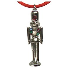 Nutcracker necklace, large size with crystal, rhodium finish, silver color