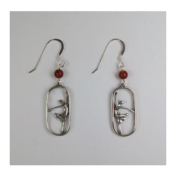 Ballet earrings, sterling silver and carnelian beads