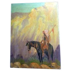 Antique Oil Painting of Native American on Horse by John Norris