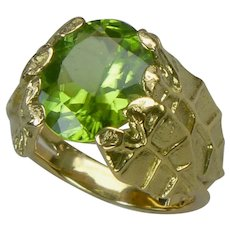 Jungle leaf ring, 18k gold and peridot