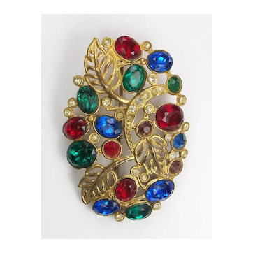 Vintage colorful rhinestone brooch